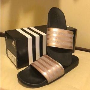 Adidas metallic slides